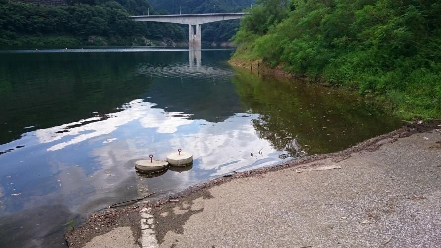 湖底に沈む道路